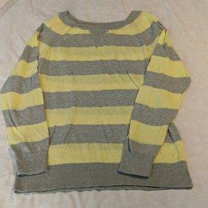 Old Nay Yellow and Gray Striped Sweater Size M